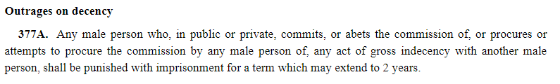 Section 377A Penal Code Singapore